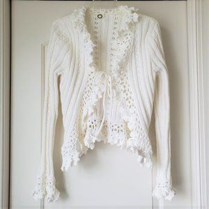 One Girl Who Crochet Trim Knit Cardigan L